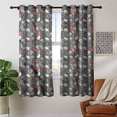 petpany Blackout Curtains Garden Art,Rustic Flowers Pattern,Thermal Insulated Panels Home Décor Window Draperies for Bedroom 42