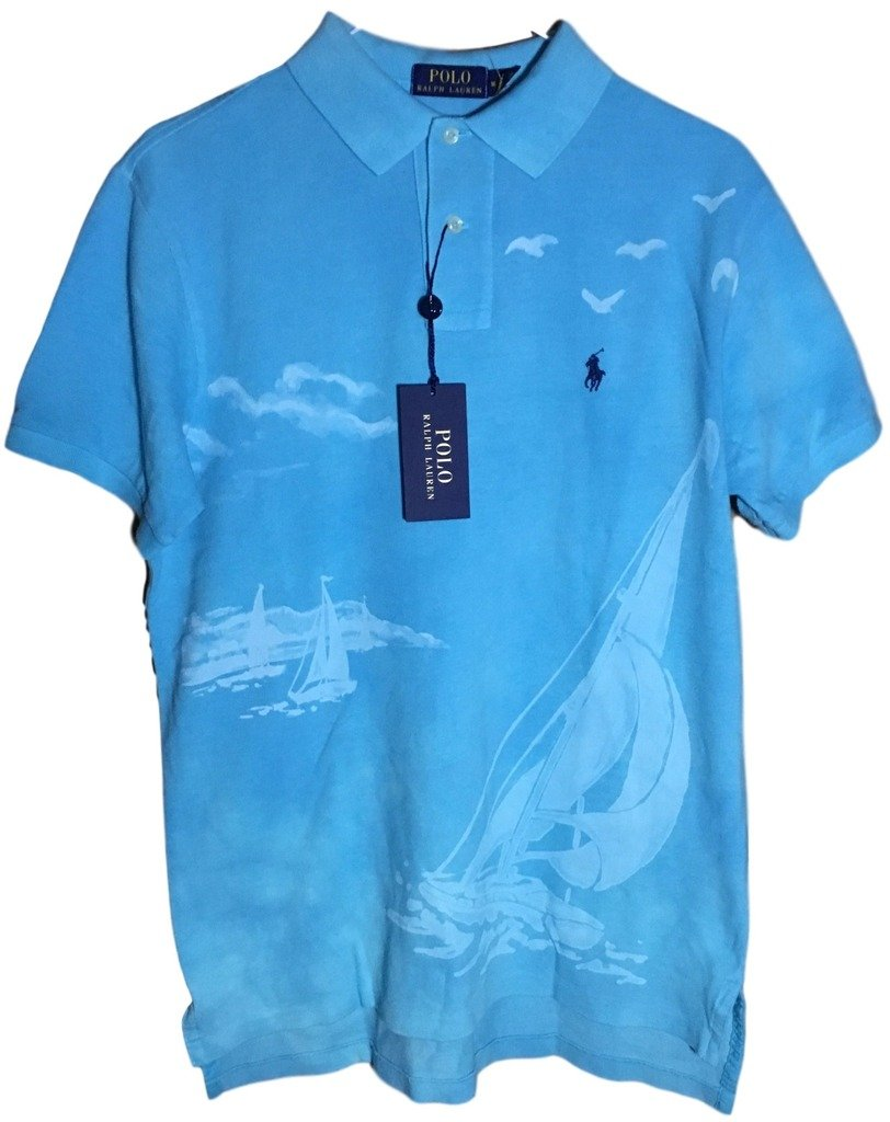 Polo Ralph Lauren Men Custom Fit Mesh Pony Logo Shirt (M, PrintTurquoise) by Polo Ralph Lauren (Image #1)