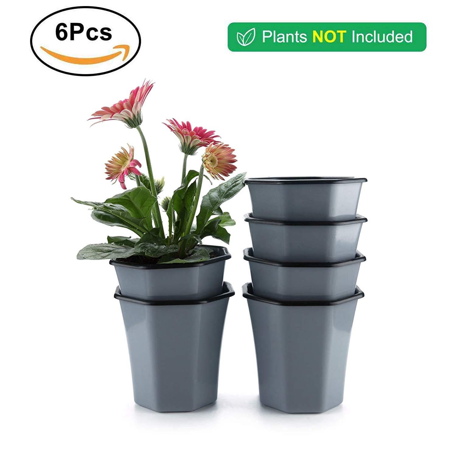 T4U Plastic Self Watering Planter Pot 5 Red Set of 2 Small Indoor Geometric Nursery Seedling Flower Pot Container for Orchid Herb Aloe Succulent Cactus Home Office Windowsill Balcony Decor Gift