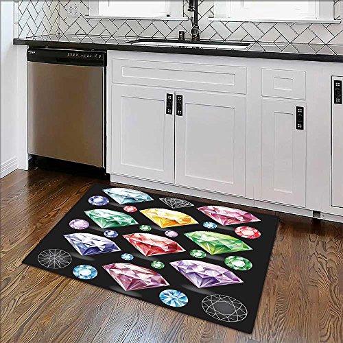 Indoor/Outdoor Rug Set of Diamonds of Stain Resistant Carpet W36 x H20
