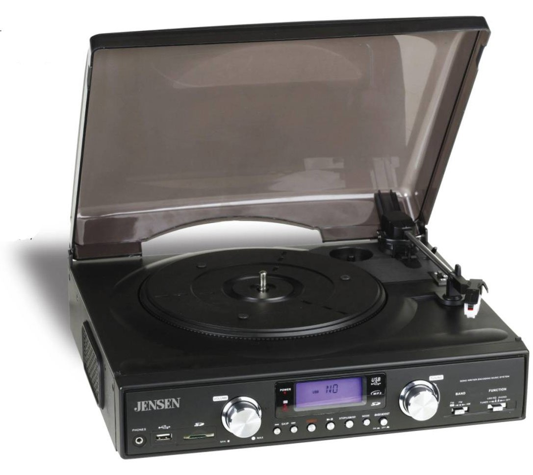 Amazon.com: Jensen 3 Speed Stereo Turntable With MP3 Encoding And AM/FM  Stereo   JTA 450 (Black) (Discontinued By Manufacturer): Home Audio U0026  Theater