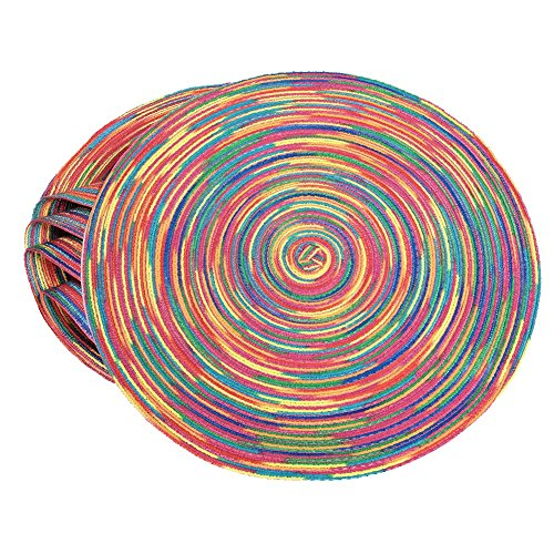 Braided Colorful Round Place mats for Kitchen Dining Table Runner Heat Insulation Non-Slip Washable Summer Placemats Set…