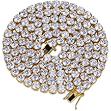 JINAO Jin'ao 18k Gold Plated 1 Row 6MM Lab Simulated Diamond Iced Out Chain Men's Hiphop Tennis Necklace????