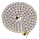 Jin'ao JINAO 18k Gold Plated 1 Row 6MM Lab Simulated Diamond Iced Out Chain Men's Hiphop Tennis Necklace