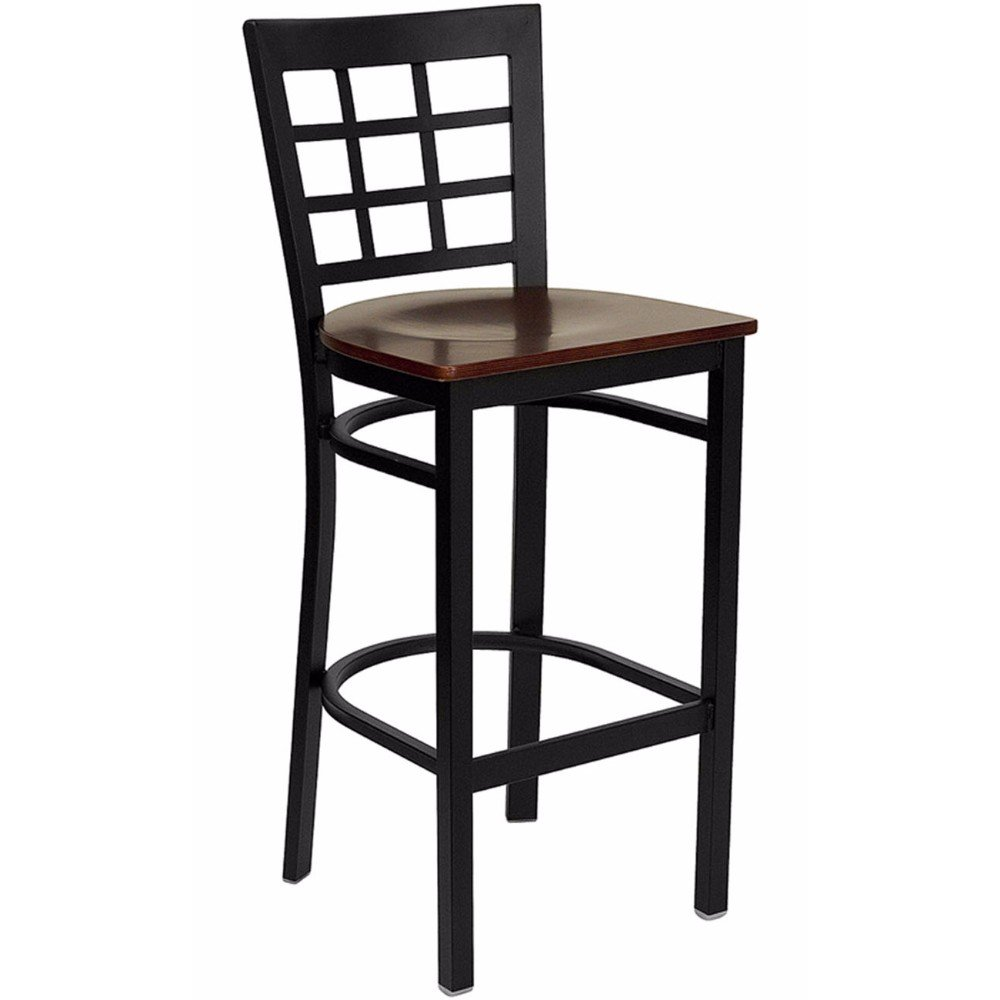Offex Black Window Back Metal Restaurant Bar Stool - Mahogany Wood Seat