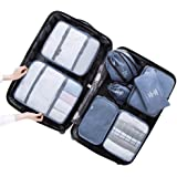Tentock Travel Compression Organizers Luggage Storage Bags 8 Pieces Set - Packing Cubes