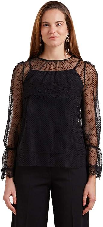 Oltre : Blusa plumeti con Top a Juego Negro XL+ Mujer: Amazon ...