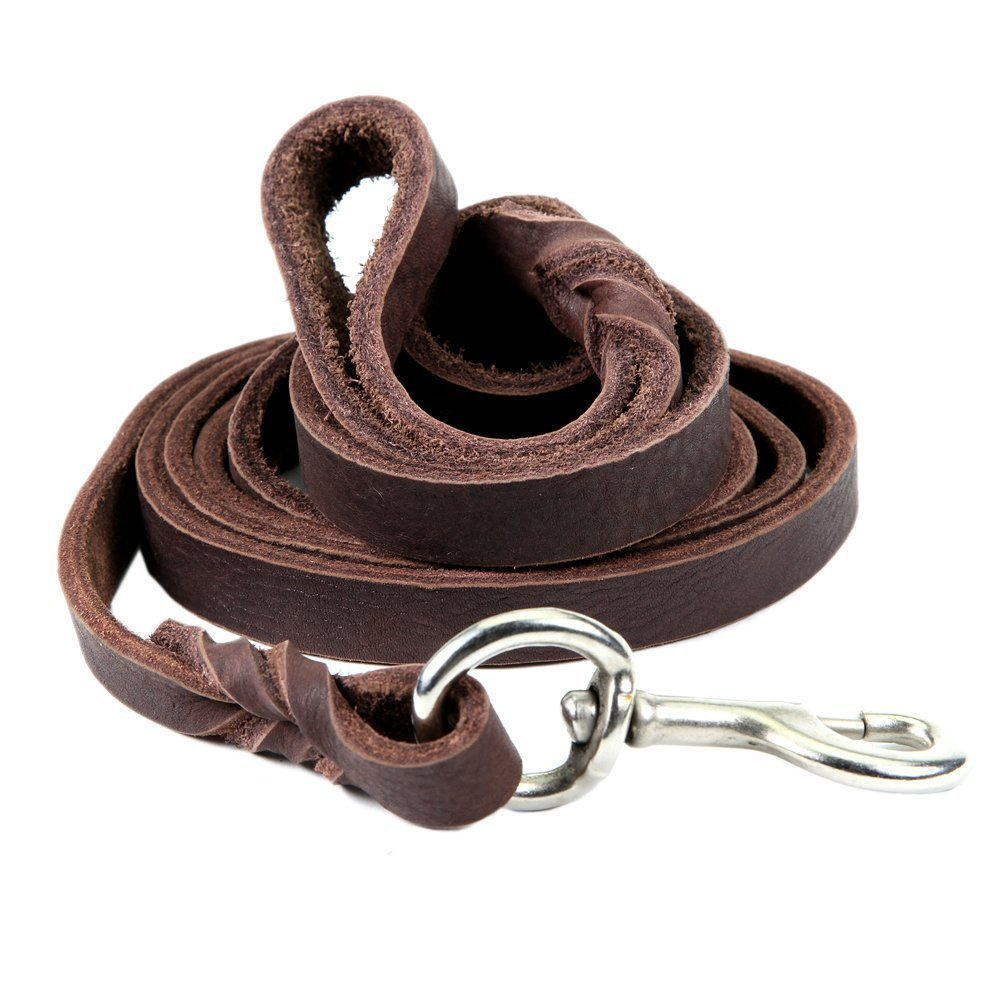 Dogs Kingdom Genuine Leather Braided Brown Dog Leash 4Ft/5Ft/7Ft/8.5Ft Best Lead For Large and Medium Dogs Training Walking Brown/Silver Hook 5/7''7ft