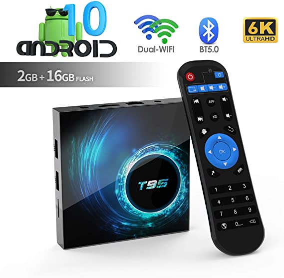 Imagen deAndroid TV Box, TUREWELL T95 Android 10.0 Allwinner H616 Quadcore 2GB RAM 16GB ROM Mali-G31 MP2 GPU Soporte 6K 3D 1080P 2.4/5.0GHz WiFi 10/100M Ethernet BT 5.0 DLNA HDMI 2.0 H.265 Smart TV Box