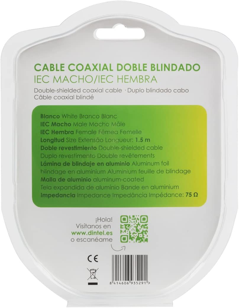 Dintel Cable Antena 5 Metros IEC Macho-F Blanco Blister