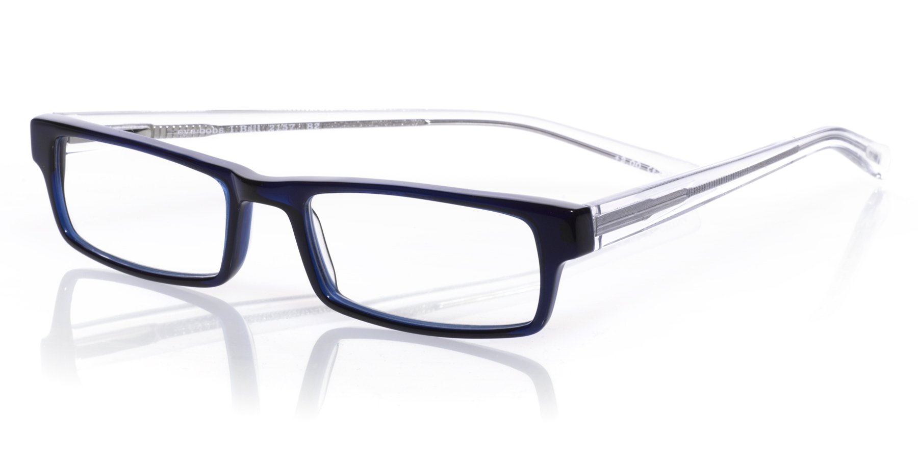 eyebobs I Ball Unisex Premium Readers, Navy Front with Clear Crystal Temples, 1.25 Magnification