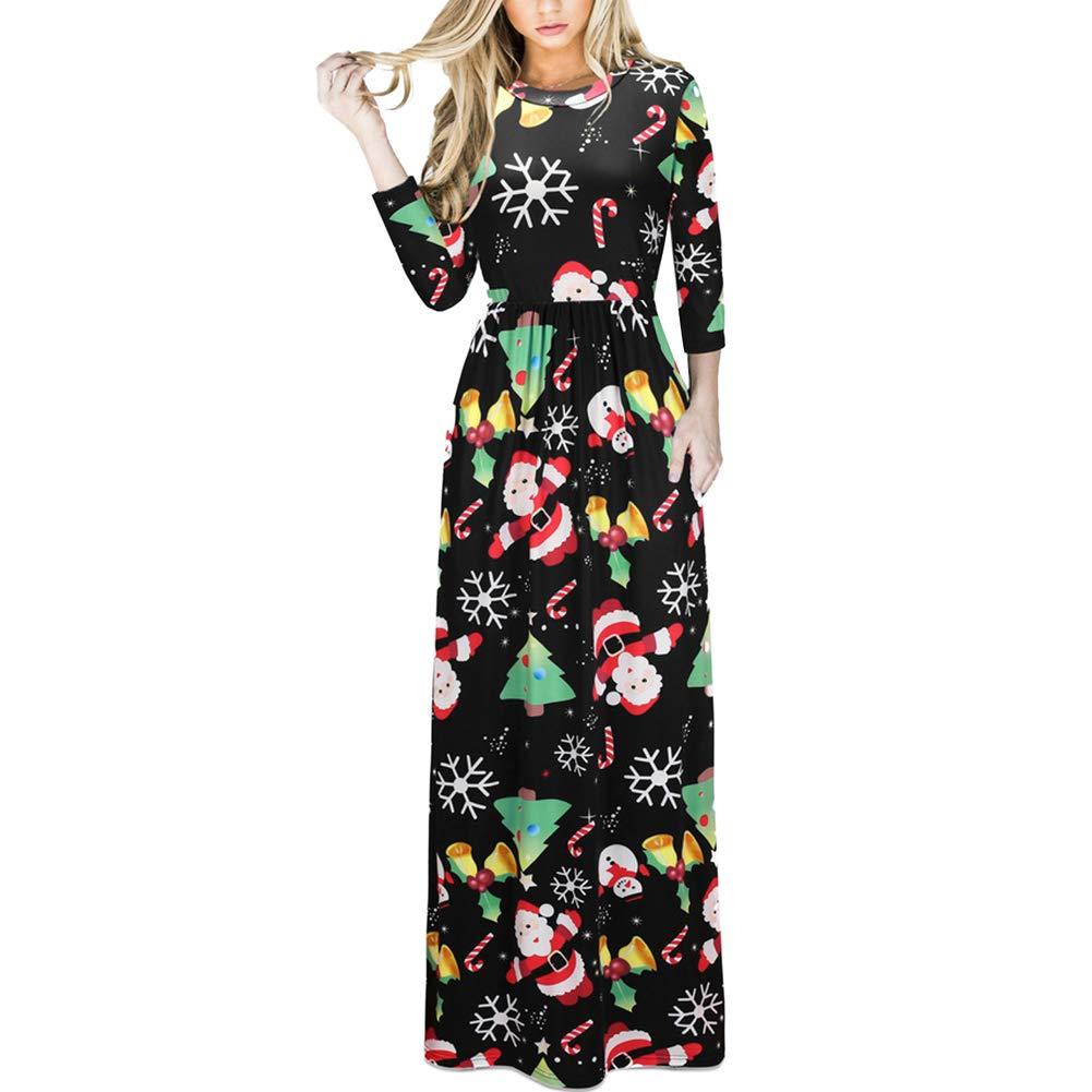 TALLA (EU50-52)3XL. Lover-Beauty Vestido Largo Floral Print Casual para Noche Fiesta Playa Fiesta Manga Larga Cuello Redondo Vestido Verano Cuello V Multicolor 5 (EU50-52)3XL