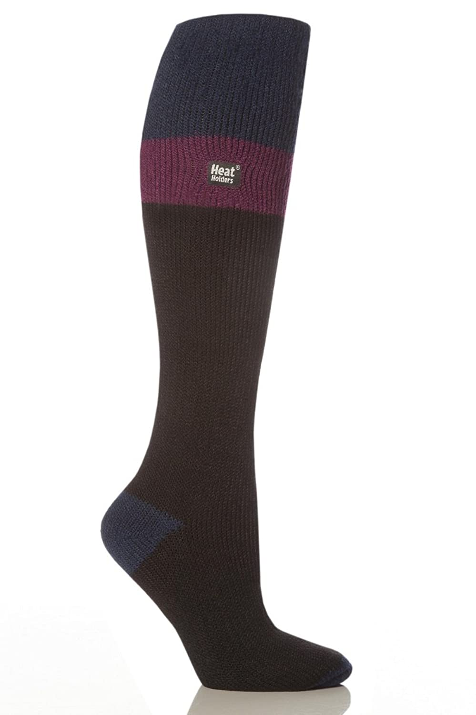 1 Paar Damen Original thermisch Wärmehalter Ski Socken 4-8 uk, 37-42 EUR, 5-9 usa Schwarz / Indigo / Fuchsia
