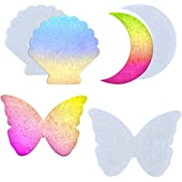Koonafy 3 pcs Hars Silicone Resin Mallen,Epoxy Art Onderzetter Molds with Moon Butterfly Seashell,Casting Agaat Mould…