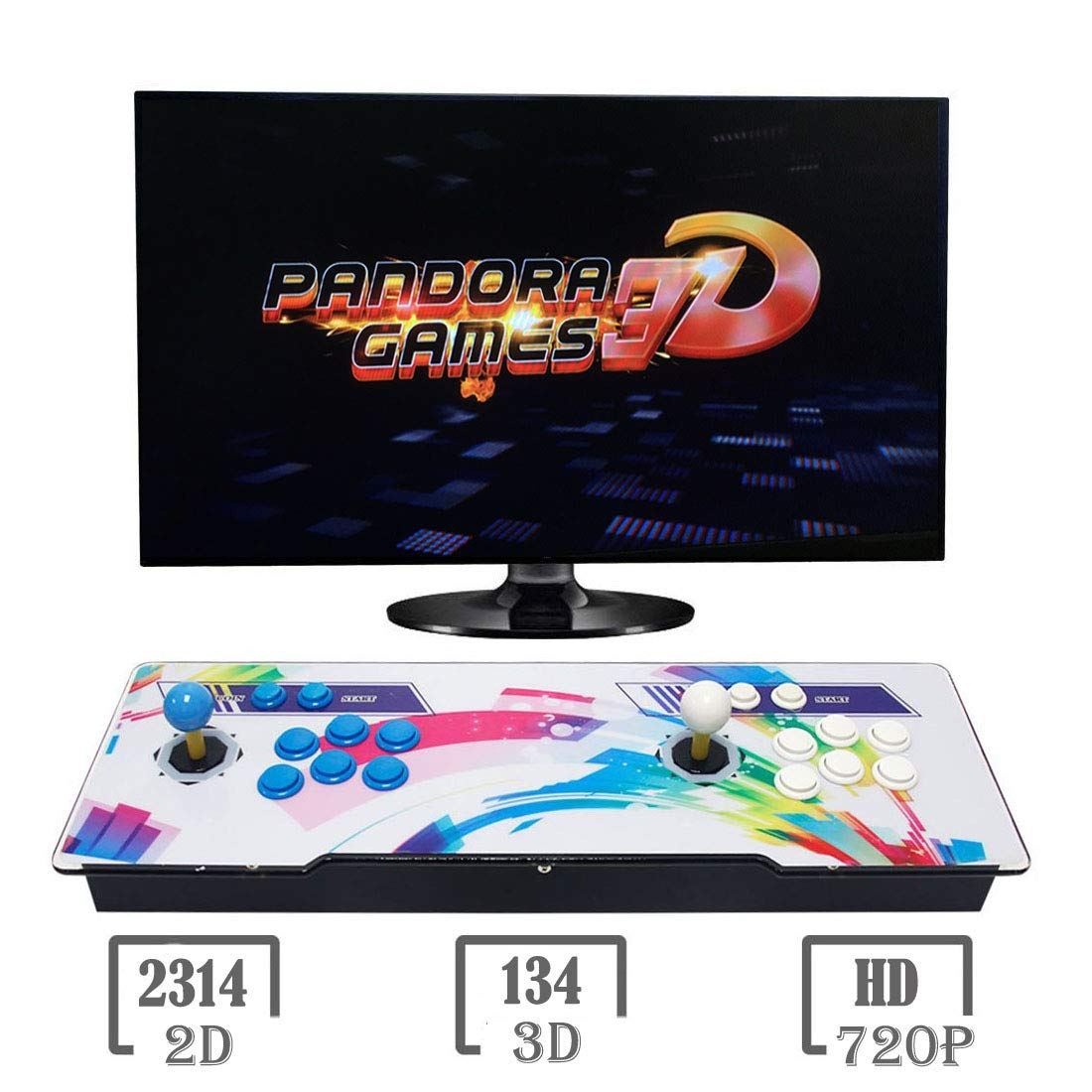 3D Pandora Key 7 Games Arcade Console | 2448 Games Installed | Support 3D Games | Add More Games | Search & Save Games Function | 1280x720P | Support 4 Players Online | HDMI/VGA/USB/AUX Audio Output