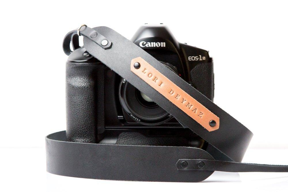Personalized leather camera strap in black color DSLR camera strap for Canon Nikon Sony Olympus Fuji