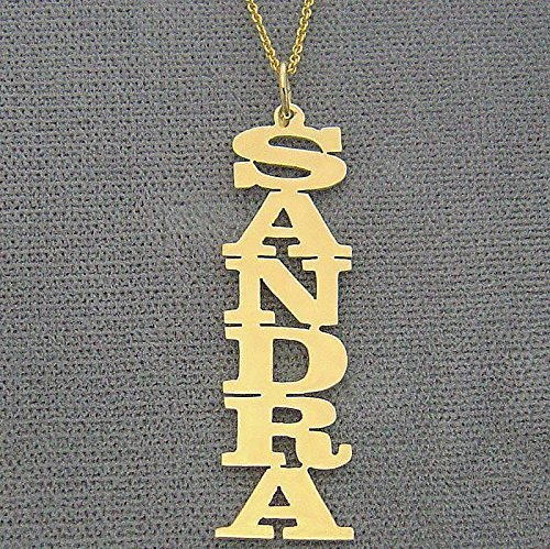 Initial 14k Yellow Gold Pendant - Vertical Name Pendant Charm Chain 14k Yellow Gold Personalized Laser Cut Block Font