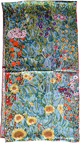 Van Gogh and Claude Monets Paintings, Elegant Luxury Fashion Silk Scarf Premium Shawl Wrap Art (Gustav Klimt-Farm Garden with Sunflowers)