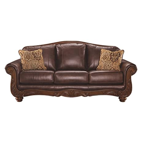 Ashley Furniture Signature Design - Mellwood Leather Sofa - Traditional -  Walnut