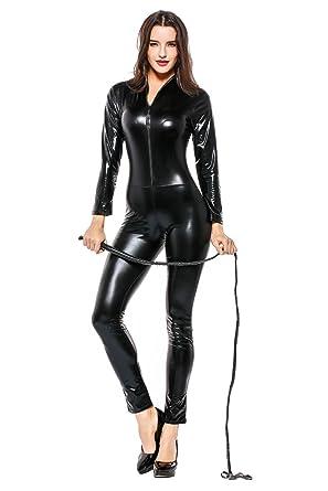 401c0a82c7b26 Fancycloth Women's Pu Faux Leather Catsuit Teddy Night Clubwear at ...