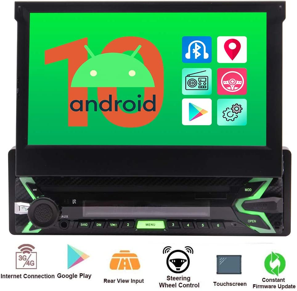 Single Din Car Radio Android 10.0 Q OS Car Stereo with 7'' Capacitive Touch Screen in Dash GPS Navigation Headunit 1Din Bluetooth Video Player Detachable Face Panel/SWC/WiFi/AM FM Radio/Screen Mirror