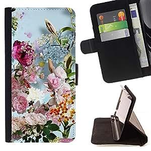 For Sony Xperia Z1 L39 Case , Primavera Verano Flores florales Ramo Sun- la tarjeta de Crédito Slots PU Funda de cuero Monedero caso cubierta de piel