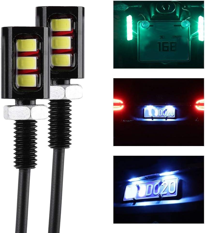 Senyar Car Motorcycle License Plate Light,12V 3LED Universal Aluminum License Number Plate Screw Bolt Light Lamp Blue
