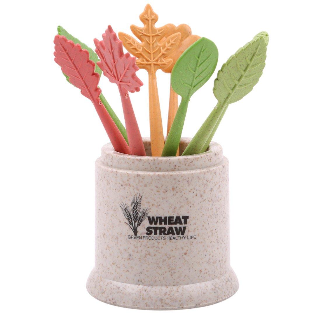 VWH 8pcs Fruit Dessert Forks Natural Wheat Straw Cute Cake Salad Vegetable Food Appetizer Picks Forks (beige)