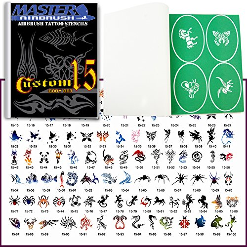 (Master Airbrush Brand Airbrush Tattoo Stencils Set Book #15 Reuseable Tattoo Template Set, Book Contains 102 Unique Stencil Designs, All Patterns Come on Vinyl Sheets with a Self Adhesive)