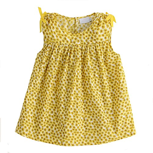 SNOW DREAMS Little Girls Floral Print Blouses Sleeveless Cotton Crinkled Tops Tees Yellow Size 4 ()