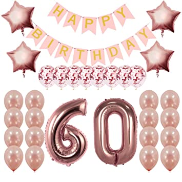 Rose Gold 60th Birthday Decorations Party Supplies Gifts For Women