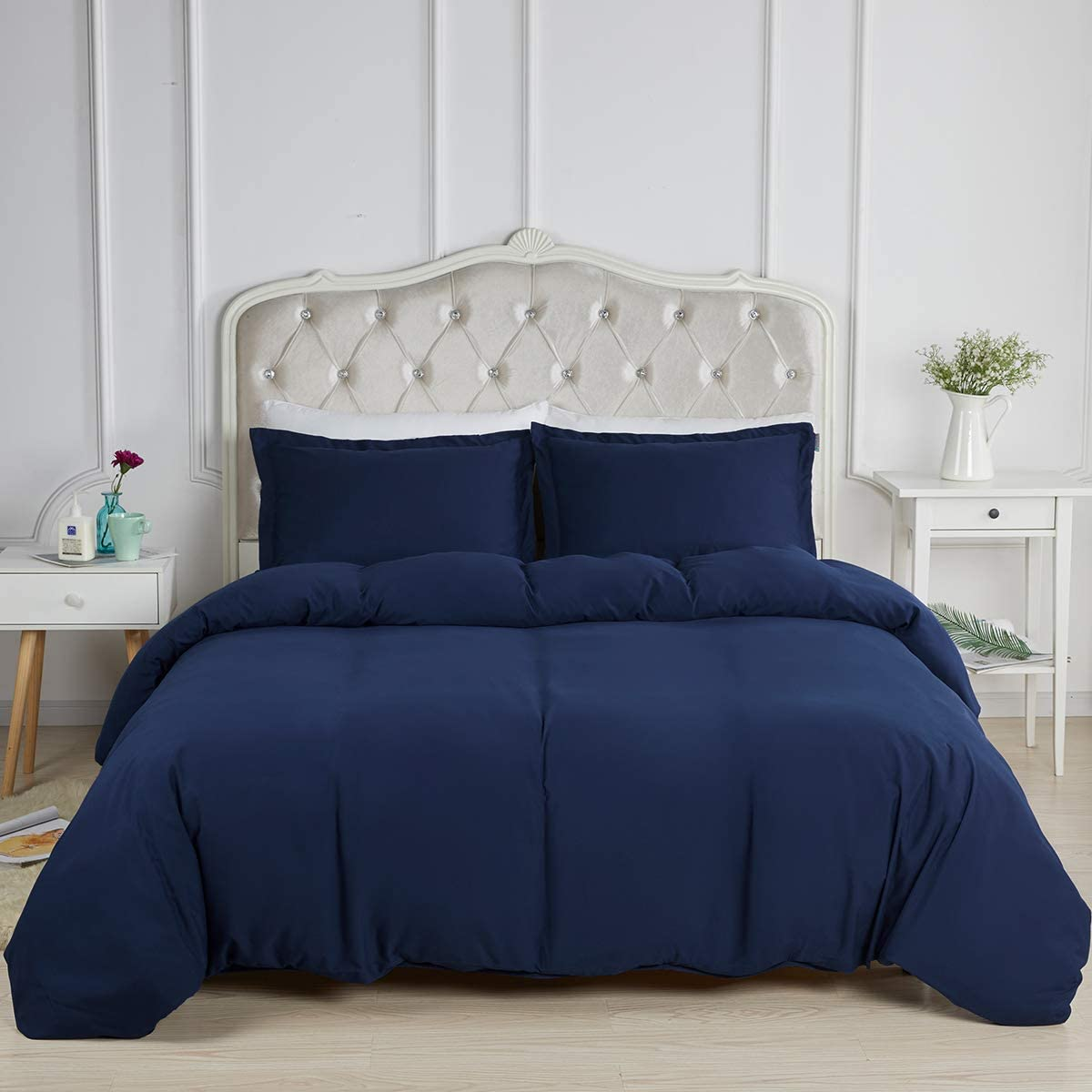 STONECREST Classic Home Decor, Inc Navy Duvet Cover King, Ultra Soft Warm Solid 3pc Comforter Cover, Microfiber Bedding Set with Button Closure and Corner Ties (Navy Blue, King)