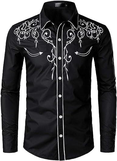 Luxfan Mens Western Cowboy Shirt Long