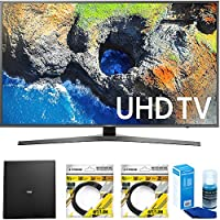 Samsung 54.6 4K Ultra HD Smart LED TV 2017 Model (UN55MU7000FXZA) with Terk Indoor Flat 4K HDTV Multi-Directional Antenna, 2x 6ft HDMI Cable & Universal Screen Cleaner for LED TVs