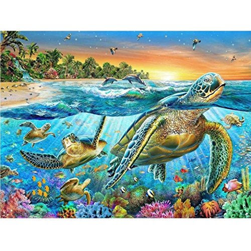 DIY Diamond Sea Turtle Paint Crystal Glow 5D Diamond Cross Stitch Diamond Sticker Furniture Decoration (40x30cm) ()