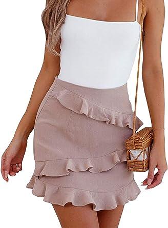 Mini Falda De para Cuero Mujer De Gamuza Volante Cintura Especial ...