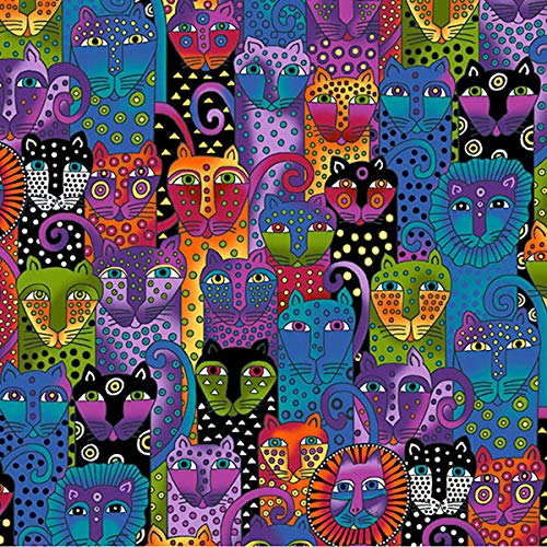 Clothworks Wild Ones Flannel by Laurel Burch Black Jungle Cat Collage ()