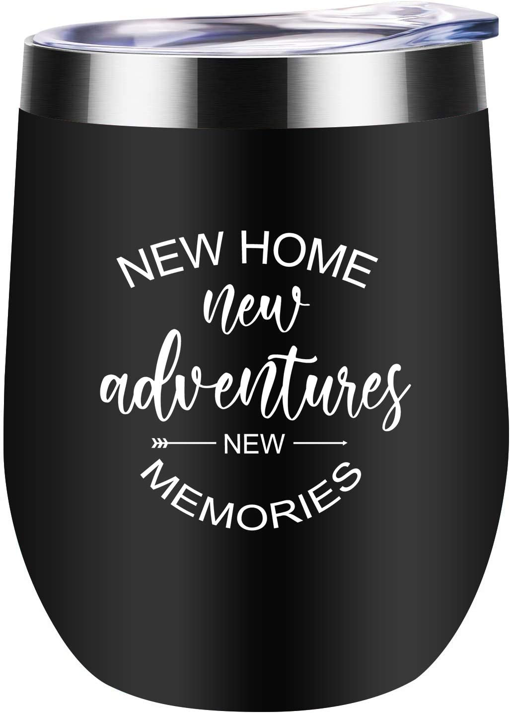Housewarming Gifts For New Home Unique First Time House Owner Gift Ideas for Women Men Couple Best Friends Mom Wife Her Sister New Adventure New Memories Wine Tumbler 12oz (Black)