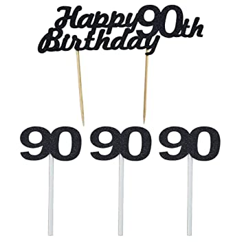 Black Happy 90th Birthday Cake Topper Party Decoration Supplies 1 Piece