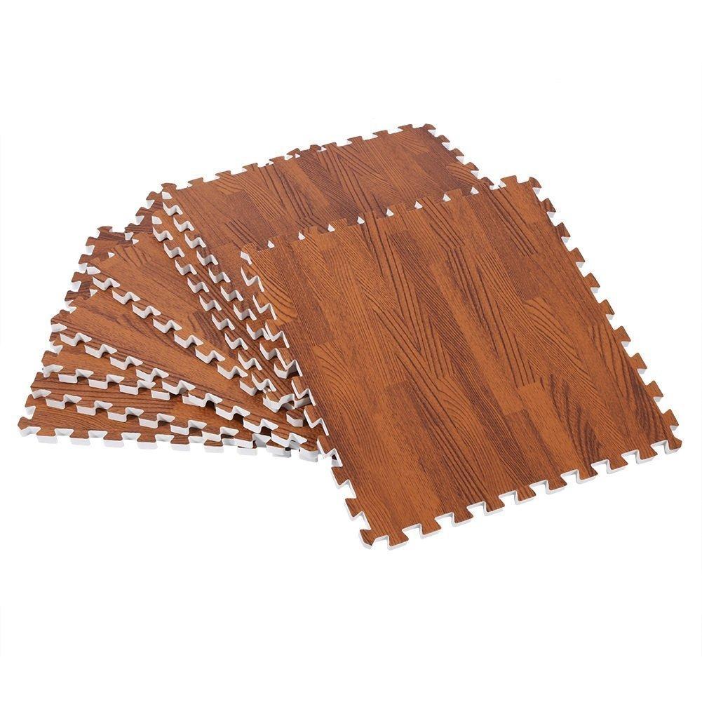 ZJchao Eva Wood Grain Cushioned Floor Mat Interlocking Foam Puzzle, 18 Pcs 30X30cm Anti Fatigue Extra Thick Children Play Flooring Mats (Shallow Wood Grain)