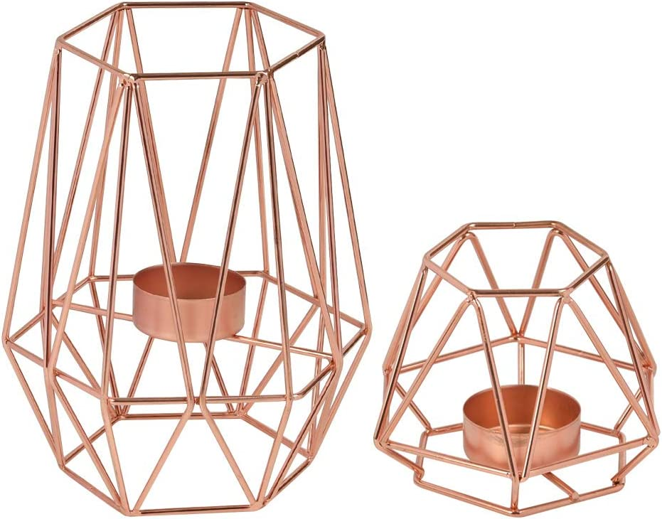 FOCCTS Metal Tealight Candle Holders, 2 Pack Rose Gold Geometric Candle Holders for Vintage Wedding, Living Room, Bathroom Decorations, Tables Decor (S+L)