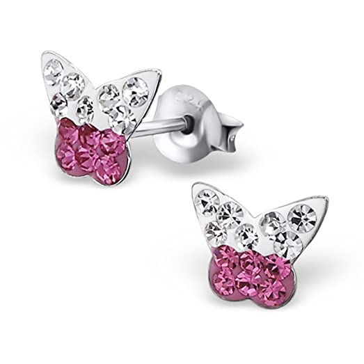 Pink Butterfly Earrings - Sterling Silver - Tiny RNGBUhMp4a