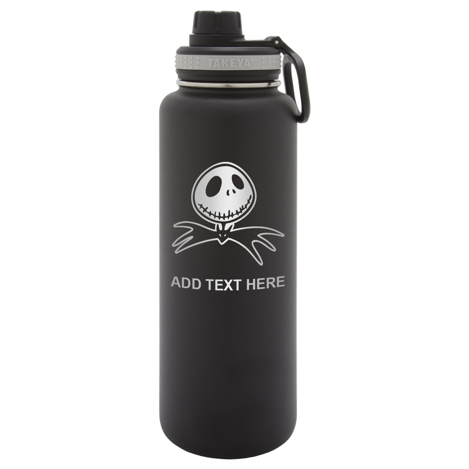 Army Force Gear Personalized Custom Takeya Nightmare Before Christmas Bat Laser Engraving Thermoflask Leak Proof Insulated Stainless Steel Workout Sports Water Bottle Tumbler, 24 Oz, Black by Army Force Gear
