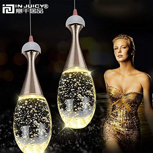 Injuicy Lighting Modern Luxury Crystal Bubble Perfume Bottle Pendant Lights Fixtures American Led Pendant Lamps for Cafe Bar Dining Rooms Restaurants Living Room Bedrooms Gift (3 Head Rectangle Plate) by Injuicy (Image #7)