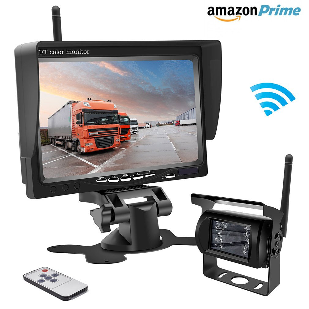 Wireless Backup Camera,Rear View Camera and Monitor Kit Waterproof Parking Assistance System for Car/Truck /Mini Van/Caravan / Trailers/Camper with 7'' HD LCD Night Vision RC 12V-24V Accfly