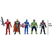 Avengers Toys Set - Captain America, Ironman, Hulk, Ant Man and Thor - Infinity War 5 Action Hero Collection (Multicolour) [ Avengers Height : 4.5 inches ]