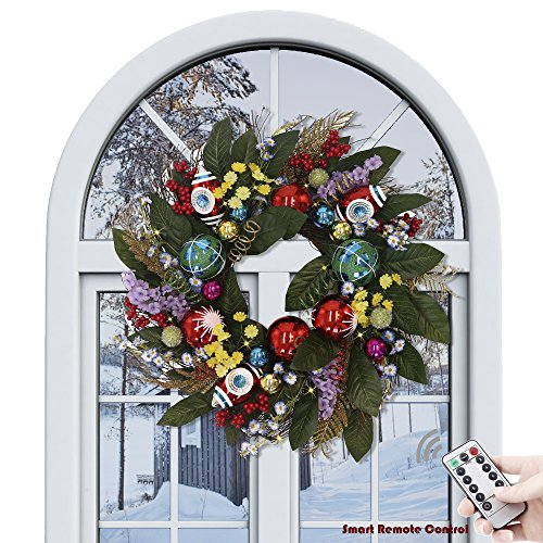 Valery Madelyn Pre-Lit 24 Inch Dazzling Multicolored Christmas Wreath with Shatterproof Ball Ornaments, Artificial Simulation Flower and Accessories, Battery Operated 20 LED Lights with Remote Timer (Wreaths Christmas)