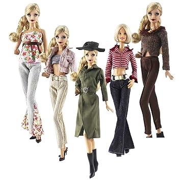 Amazon.es: Lance Home Ropa para Barbie, 5 Conjuntos Moda Abrigo de otoño Vestidos Pantalones Zapatos Sombrero Rompevientos para Barbie Accesorios Bebé ...