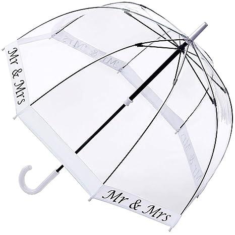Fulton Birdcage-2 cúpula paraguas boda de la forma Sr. y señora - blanco