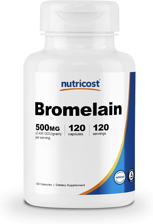 Nutricost Bromelain 500mg, 120 Veggie Capsules - Bromelain (2400 GDU/g), Non-GMO, Gluten Free